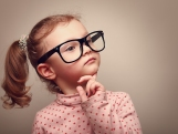 Thinking Cute Kid Girl Looking. Instagram Effect Portrait